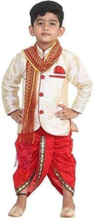 DIGIMART Boy's Regular Fit Dhoti Kurta with Dupatta Set (Size:30)