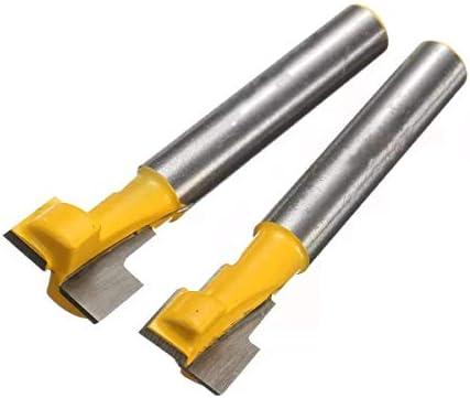 ドライバーセット、ドリルキーホールブレードTスロットカッターウッドワーキングルータービットセット2個9.52mmと12.7mmドリルアクセサリー