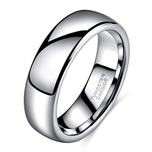 - 6mm White Tungsten Carbide Ring Unisex High Polished Classic Dome His and Hers Wedding Band Comfort Fit Size 13