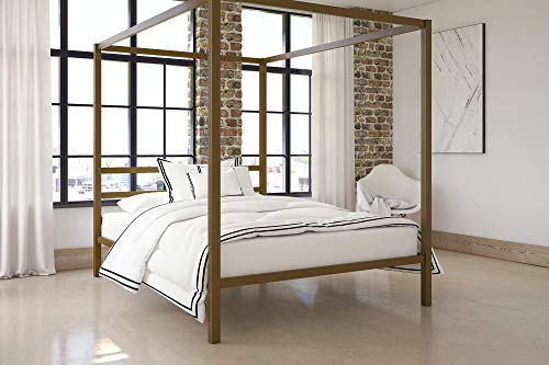 Metal Sleigh Size Full Bed (DHP Modern Canopy Bed with Built-in Headboard, Classic Design, Queen Size, Gold)