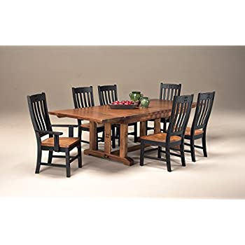 "Intercon Rustic Mission 7 Pc Dining Set (44 x 72-108, 2-18"" Ref Lvs)"