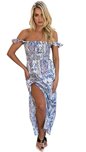 Women's Summer Boho Off The Shoulder Long Maxi Casual Dresses Split (2XL, 016-lan)