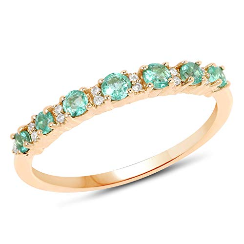 14K Yellow Gold Emerald & Whit