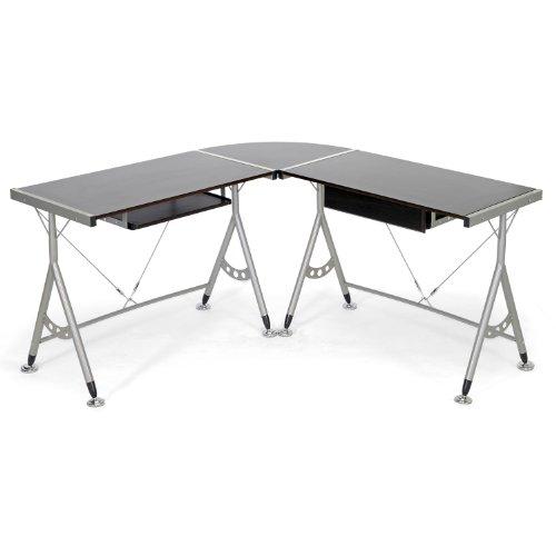 Baxton Studio Elburn L-Shaped Modern Computer Desk, Dark Brown - Executive L-shaped Computer Desk