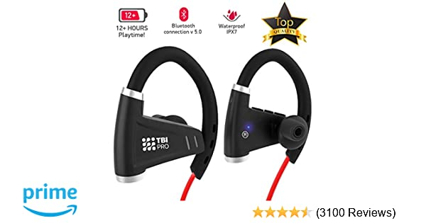 1fe09b9dbe3 Bluetooth Headphones w/ 12+ Hours Battery - Best Workout Wireless Sport  Earphones w/Mic - IPX7 Waterproof Music Earbuds for Gym Running (Sport  Headphones)