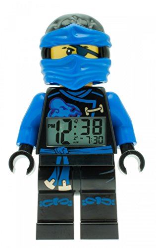 LEGO Ninjago Sky Pirates Jay Kids Minifigure Light Up Alarm Clock | blue/black | plastic | 9.5 inches tall | LCD display | boy girl | official