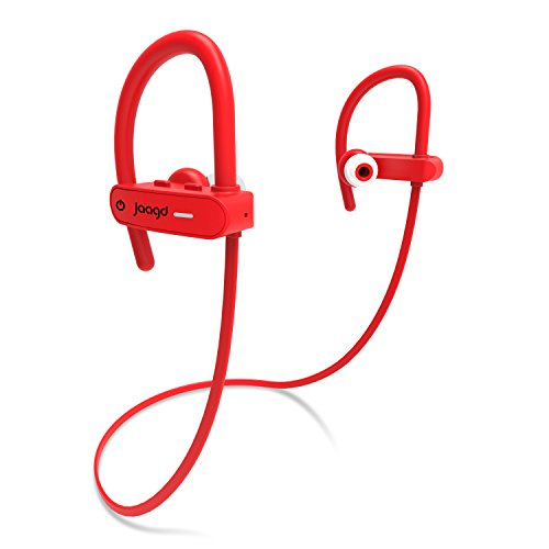 Jaagd Water-Resistant IPX7 Sports & Exercise Bluetooth Headphone Earbuds for iPhone X, Samsung Galaxy and More! (Red)