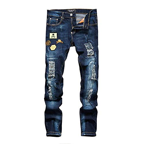 ADELINA Hombres Punk Rasgados Agujeros Jeans Pantalones Badges del Jeans Ssige Ropa Vintage Fashion Ripped Holes Jeans Blau