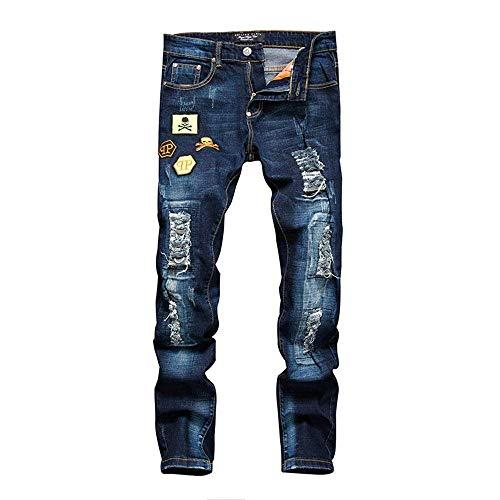 Hop Con Street Strappati Foro Dance Blau Casual Pantaloni Lunghi Cherer Da Strappato Jeans Biker Uomo Stile Semplice Hip qnp8v6