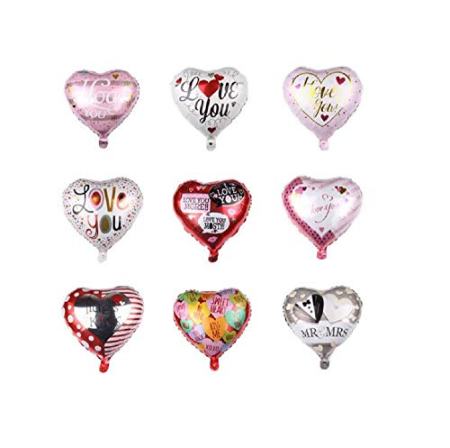 9pcs Heart Shape Foil Balloons Helium Party Balloons for Wedding Birthday Party Valentine's Day Engagement Festival Decorative Balloons, 18inch