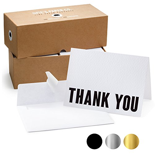 - 100 Letterpress Thank You Cards and Self Seal Envelopes. Perfect for Graduation, Business, Weddings - Opie's Paper Company (Black and White)