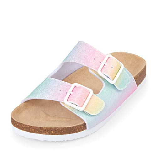 e95ce72968fc The Children s Place Girls  Rainbow Double Buckle Luna Sandal Flat