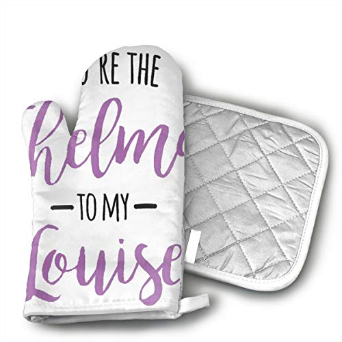 Thelma E Louise Halloween (You're The Thelma To My Louise Kitchen Non Slip Heat Resistant Oven Flame Cooking Baking Mitts Gloves For ,BBQ,Grilling Machine Washable,One Size-Christmas Christmas Eve Halloween Insulated)