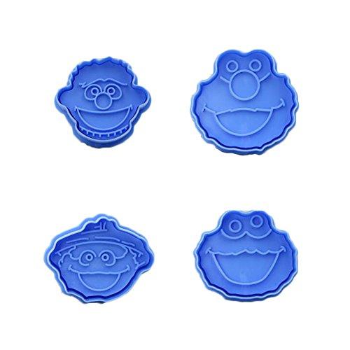 East Majik Cute Monster Pattern 4pcs Baking Cookie Cutters Set Random Color -