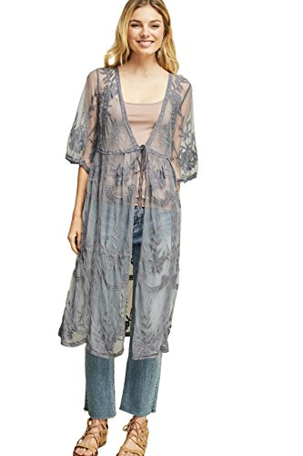 Entro Women's Bohemian Long Floral Lace Kimono Cardigan with Elbow Length Sleeves and Tie Front (Small, Charcoal)