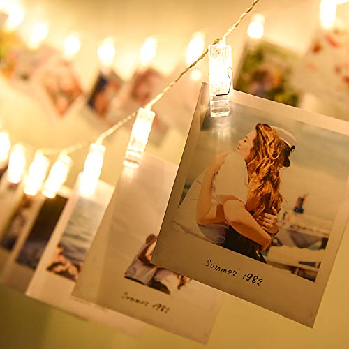 Alyattes Photo Clips String Lights Christmas Lights Starry Light Wall Decoration Light for Hanging Photos Paintings Pictures Card and Memos, Battery Powered (40 LED Warm White) by Alyattes (Image #8)
