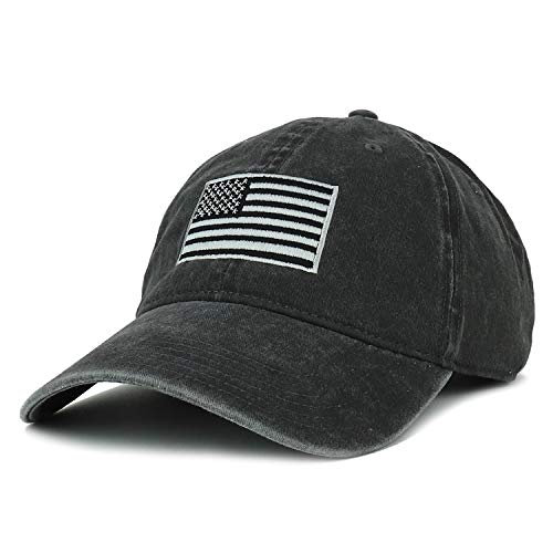 Armycrew XXL Oversize Grey American Flag Embroidered Cotton Pigment Dyed Cap