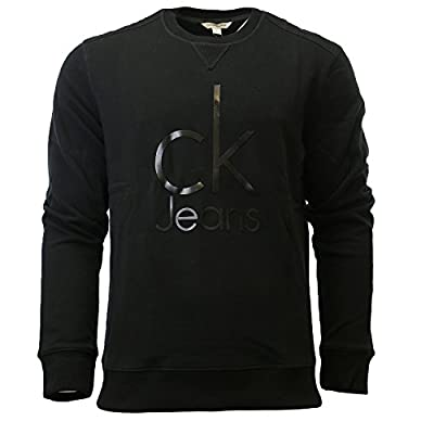 Calvin Klein Jeans Men's Mixed Media Ckj Logo Crew Neck Sweatshirt