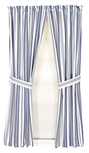 York 72 Inches Wide x 63 Inches Long Polyester Rod Pocket Curtain Panel Pair, Navy (White Navy And Curtains Striped)