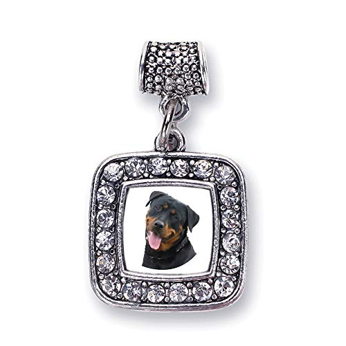Inspired Silver - The Rottweiler Memory Charm for Women - Silver Square Charm for Bracelet with Cubic Zirconia Jewelry