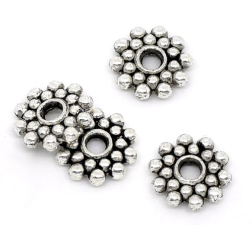 Housweety 100PCs Spacer Beads Snowflake Round Silver Tone 8mm Dia.