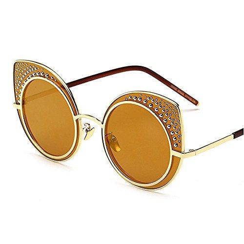 de libre UV Gafas gato Gu al playa Color verano Gafas agraciadas Silver de para mujeres sol Peggy de sol conducir las protección de de Ojos Gold estilo remachadas aire vacaciones 6vwqRnP5x
