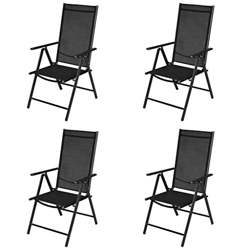 Tidyard Outdoor Chairs 4 pcs Aluminum Chair with Armrest & Footrest Powder-Coated Aluminum Frame Textilene Seat Backrest 21.3