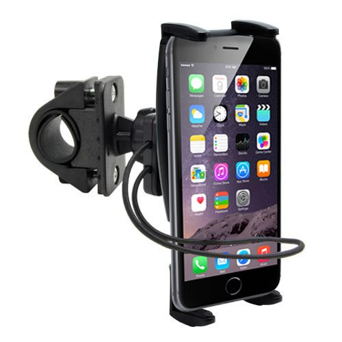 High Grade Ultra-Grip Bike Mount/Motorcycle Mount for Apple iPhone X 8 7 7 Plus 6, Samsung S9 S8 S8 Plus, Moto X4 G5S G6 Mobile Phones w/Swivel Cradle and Safety Strap (Use with or Without Case)