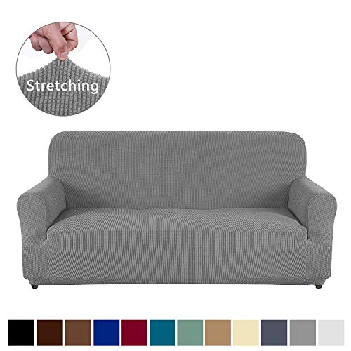 AUJOY Loveseat Cover Stretch 1-Piece Couch Slipcover for 2 Cushion Couch Jacquard Spandex Fabric Sofa Furniture Protector with Anti-Slip Foams (Loveseat, Light Gray) (Cushion T Is Loveseat What A)
