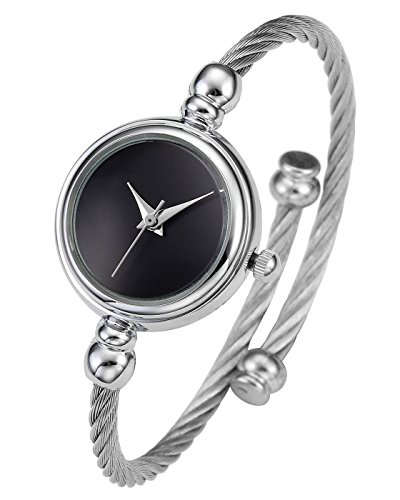 Top Plaza Womens Fashion Silver Tone Analog Quartz Bangle Cuff Bracelet Wrist Watch, Simple Elegant Stainless Steel Wire Band, 6.8 Inches(Black - Stainless Analog Bracelet