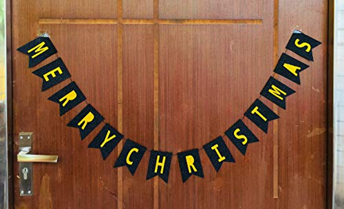 Gifttoys Merry Christmas Glitter Black&Gold Banner - Merry Christmas Banner,Merry Christmas tag,Christmas décor,Christmas Decoration for Door,Christmas Decorations for House,Christmas Decoration