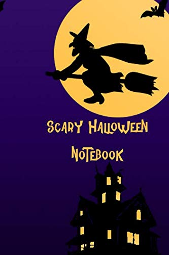 Scary Halloween Notebook: Purple Flying Witch, Kids College Ruled Lined Pages Composition Book (6x9,140 -