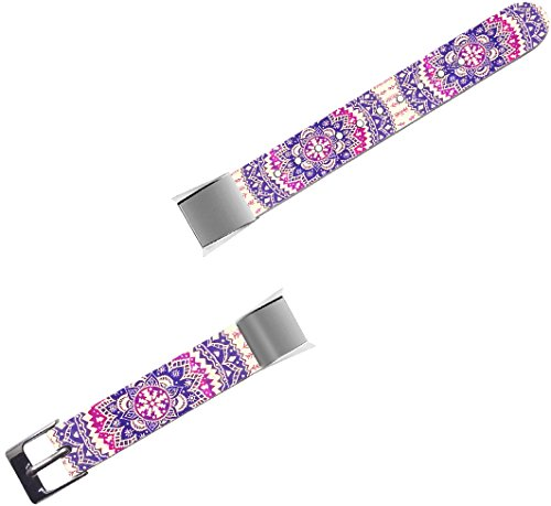 Band for Fitbit Alta - Leather Strap Replacement Compatible for Fitbit Alta/Alta HR Small & Large - Purple Girly Flower Floral Pattern - Patterns Fantastic