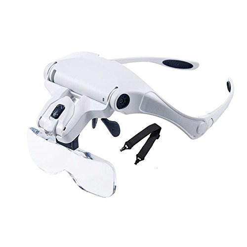 POPU Head Mount Magnifier with LED Head Light Bracket and Headband 5 Replaceable and Interchangeable Lenses1.0X-3.5X Magnifying Glasses for Jewelry Loupe, Permanent Makeup and Electronic Repair