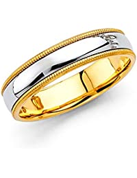 14k Two 2 Tone White and Yellow Gold Polished 5MM Domed Center Milgrain Comfort Fit Wedding Band Ring