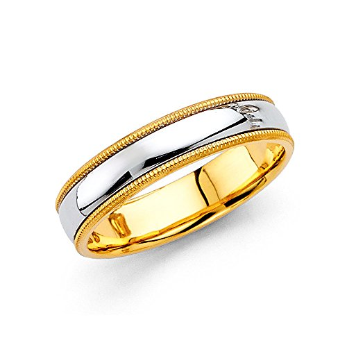 Wedding Band 14k Yellow White Gold Milgrain Ring Polished Style Comfort Fit Two Tone Men Women 5 mm Size 10 by ZenJewels
