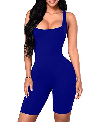 - YMDUCH Women's Sexy One Piece Tank Top Sleeveless Bodycon Club Short Jumpsuit Royal Blue 2
