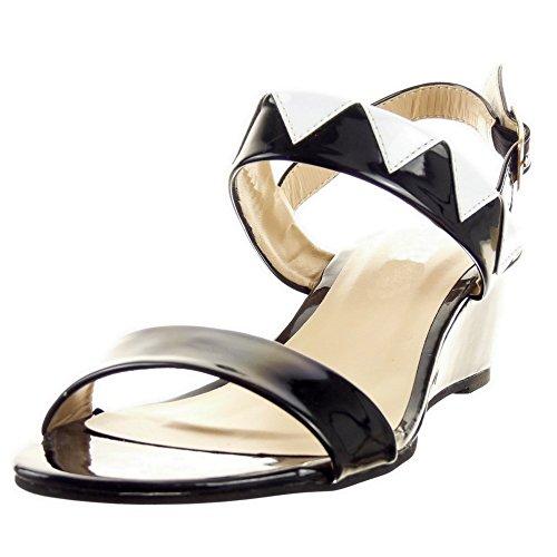 Sopily - damen Mode Schuhe Sandalen glänzende - Schwarz