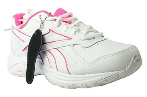 Reebok Women's Walk Ultra V Dmx Max Track Shoe, Pr-White/Solar Pink, 8.5 M US