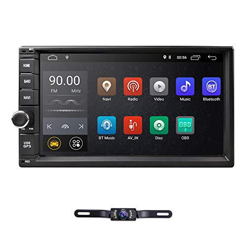 hizpo Double 2 Din Android 9.0 Car Stereo Radio GPS Navigation Support 4G WiFi Bluetooth Mirrorlink with Rear Camera (10-2 Quad Core Android Car Gps Nav Stereo)