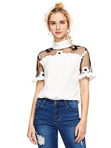 Romwe Women's Fashion Contrast Embroidered Floral Mesh Blouse Summer Elegant Collared Pleated Top White L