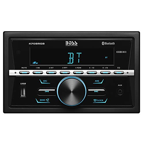 BOSS Audio 470BRGB Multimedia Car Stereo - Double Din, Bluetooth Audio and Calling, MP3 Player, USB Port, AUX Input, AM/FM Radio Receiver, (No CD/DVD), Multi Color Illumination