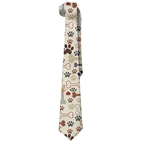 Paw Print Tie - Men's Dog Bones & Paw Prints Cream Necktie Tie Silk Necktie Neck Ties Elegant Neckties