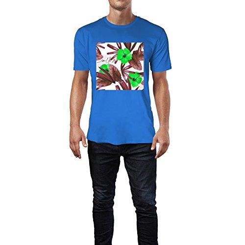 SINUS ART® Roter Hibiskus mit blauen Palmblättern Herren T-Shirts in Blau Fun Shirt mit tollen Aufdruck