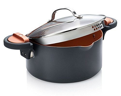 Gotham Steel Pasta Pot with Patented Built in Strainer with Twist N Lock Handles, Nonstick Ti- Cerama Copper Coating by Chef Daniel Green 5 - Stock Twist