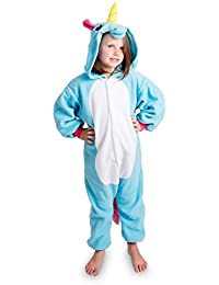 Emolly Kids Unicorn Animal Onesie Pajama Costume - Soft and Comfortable With Pockets