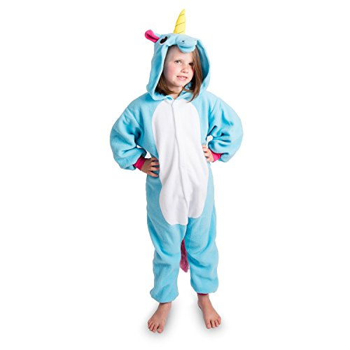 Emolly Fashion Kids Animal Unicorn Pajama Onesie - Soft and Comfortable with Pockets (10, Blue) -
