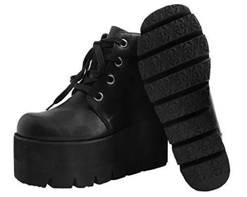 T.U.K. Shoes Women's Black 4-Eye Tractor Boot EU41 / UKW8