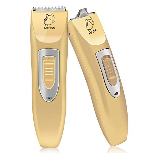 Mifine Professional Dog Clippers Kit Rechargeable - Dog Grooming Clippers and Cordless Pet Clippers Suitable Dogs, Cats and Other Animals, Eyes, Face, Ears, Paw, Around Rump (Gold)