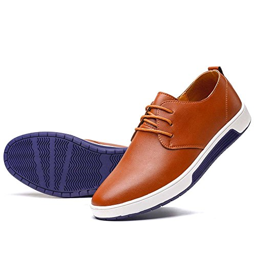 Flat Men Casual Shoes - konhill Men's Casual Oxford Shoes Breathable Flat Fashion Lace-up Dress Shoes,Brown,47